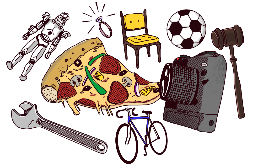 Spectacular illustrations of a bunch of tlds, including a slice of pizza for .pizza, a diamond ring for .diamond and a camera for .photo.