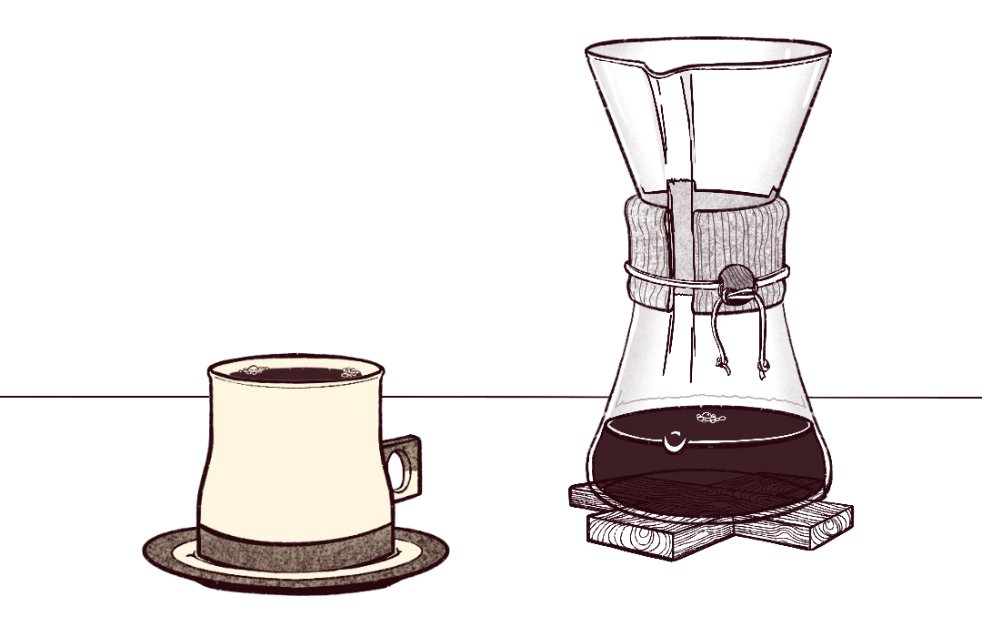 An illustration of a small Chemex with a ceramic cup on a saucer.